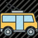 autobus, bus, tram, travel icon