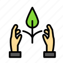 bio, eco, ecofriend, ecology, hands, nature, plant icon