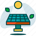 ecology, energy, globe, panel, planet, solar, sun icon