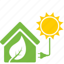 eco, ecology, energy, house, nature, solar, sun icon