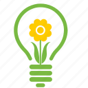 eco, ecology, energy, environment, flower, lamp, light icon
