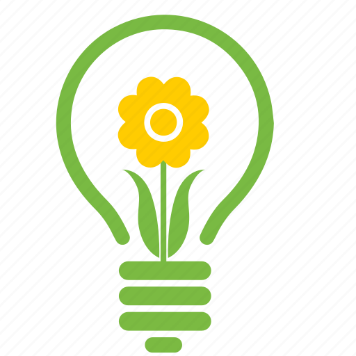 eco, ecology, energy, environment, flower, lamp, light icon