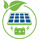 battery, cells, eco, energy, leaf, panel, salar icon