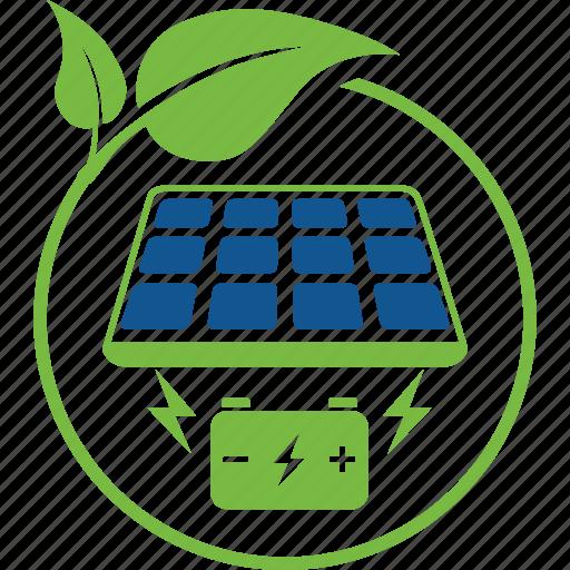 battery, cells, eco, energy, leaf, panel, salar icon