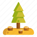 deforestation, forest, pine tree, tree icon