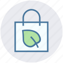 bag, ecology, environment, green, hand bag, leaf, nature icon