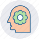 ecology, environment, flower, green, head, recycling, think icon