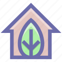 building, eco, ecology, environment, green, green house, home, house, leaf icon