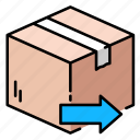 arrow, box, delivery, ecommerce, package, send, shipping icon