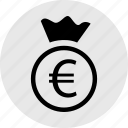 bag, banking, euro, money, online, sign, wealth icon