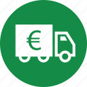 euro, goods, money, ship, sign, truck icon