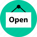 bought, buying, merchandise, open, shopping, sign, sold icon