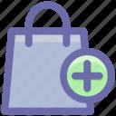 fashion, hand bag, ladies bag, plus, purse, shopping bag icon