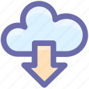 cloud and download arrow, cloud computing, cloud download, cloud downloading, cloud network, cloud sharing icon