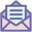 envelope, letter, mail, mesasge, message, open letter icon