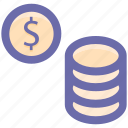 coin, coins, currency, dollar, dollar money, gambling chips, money icon