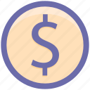 coin, dollar, dollar sign, ecommerce, money icon