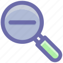 find, glass, magnifier, magnifying glass, zoom out icon