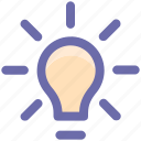 bulb, idea, lamp, light, light bulb, power icon
