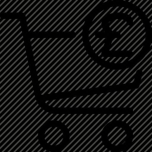 cart, ecommerce, money, pound, shopping icon