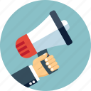 advertising, business, communication, hand, loudhailer, marketing, megaphone icon