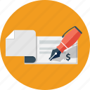 business, check, cheque, finance, money, payment icon