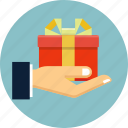 box, delivery, hand, package, shopping icon