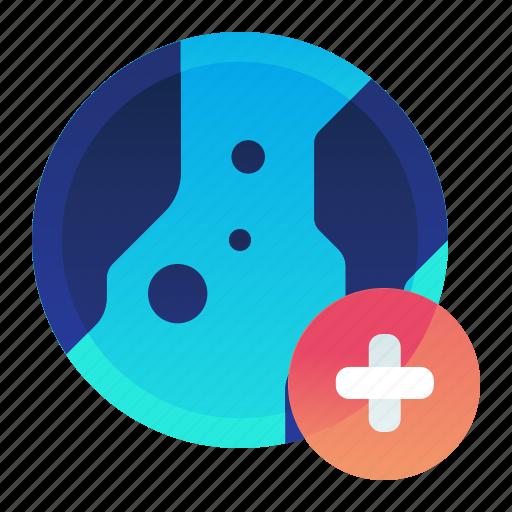 add, create, globe, international, location, new icon