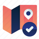 check, complete, confirm, international, location, map icon