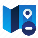 delete, location, map, minus, remove icon