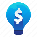 lightbulb, money, provitable, finance, idea