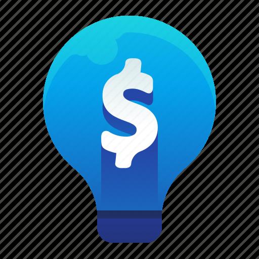 finance, idea, lightbulb, money, provitable icon
