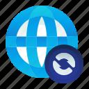 globe, international, location, map, sync, synchronize icon