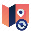 location, map, pointer, sync, synchronize icon