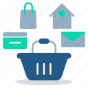 ecommerce website, marketing, online shopping, online store, purchase, shopping basket icon