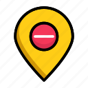 cancel, delivery address, location marker, location pin, remove location icon