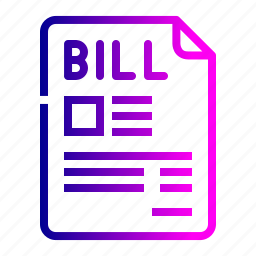 bill, document, file, invoice, product, purchase, receipt icon