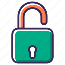 lock, password, privacy, protect, protection, secure, unlock icon