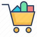 bag, basket, cart, products, shopping, shopping cart, trolley icon
