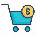 bag, basket, buy, cart, payment, shopping cart, trolley icon