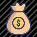 bag, coin, dollar, finance, money, money bag, wealth icon