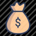 bag, bank, coin, dollar, finance, money, money bag icon