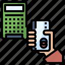 calculator, cashless, debit, hand, society