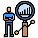 analysis, economic, graph, people, search icon