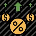 accounting, economic, financial, increased, money, profits icon