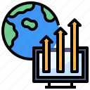 chart, computer, economy, graph, laptop, technology icon