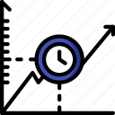 economical, financial, increase, money, over, profit, time icon