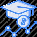 economical, education, financial, growth, money, profit icon