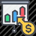 business, economy, graph, present, report icon