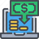 banking, cash, computer, finance, money, payment icon